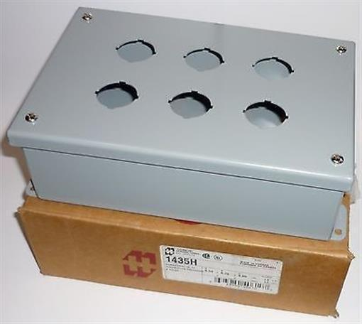 ELECTRICAL ENCLOSURE PUSH BUTTON BOX PUSHBUTTON HAMMOND 1435H 6 HOLE METAL NEW