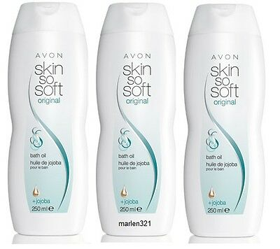 AVON 23,93€/l 3x Skin So Soft Badeöl Original mit Jojoba 750 ml, SSS Fresh