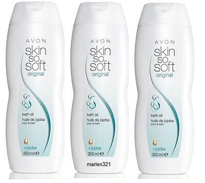 AVON 1,99€/100ml 3x Skin So Soft Badeöl Original mit Jojoba 750 ml, SSS Fresh