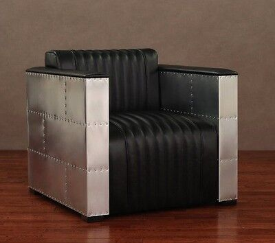 Modern Black Leather Chair Aviator Aluminum Vintage Industri