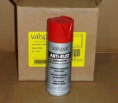 Case of 6 can Valspar 21927 Armor Anti-rust Enamel Spray Paint 12 Oz BRIGHT RED (Anti Rust Spray)
