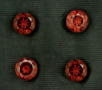 Four 3mm Round Faceted Garnet Gem Stone Gemstone Natural