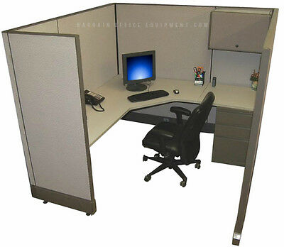 6x6 X67 H Refurbished Herman Miller Cubicle Work Stations - New Paint Fabric