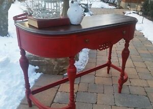 Red Painted and Refinished Sofa/Hall table or Desk