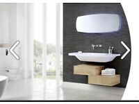 Stunning made to order Utopia Geo bathroom unit in Eton Oak, BNIB