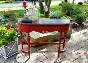 Painted and Refinished Antique RedJacobean Sofa Hall Table Desk