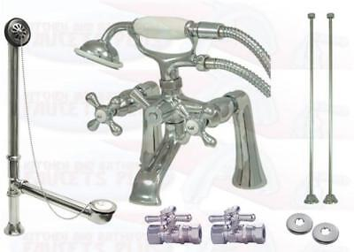 Deck Mount Tub (Chrome Deck Mount Clawfoot Tub Faucet Kit  With Drain - Supplies - Stops CCK268C)