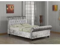 ASTRAL CRUSHED VELVET FABRIC SLEIGH DOUBLE SIZE BED FRAME IN CREAM BLACK SILVER & SAME DAY DELIVERY