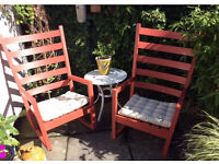 Pair of matching wooden rocking chairs