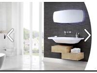 Utopia Geo bathroom unit in Eton oak, made to order, BNIB