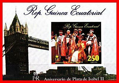 GUINEA EQUAT. 1975 QEII CORONATION imperf S/S  MNH TOWER BRIDGE, COSTUMES](Famous People Costumes)