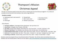 Thompson's Mission Christmas Charity Appeals for Homeless & Local Families - Toys etc.