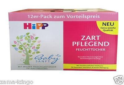 HiPP Babysanft Zart Pflegend Feucht Tücher 12 x 56 Stk. Für Baby, Kinder