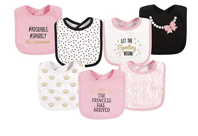 PRINCESS Lot of 7 Baby Girl Cotton Bibs NIP Hudson Baby Pink