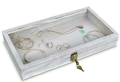Wooden Jewelry Display Case With Glass Top Lid With Key Lock Antique Grey