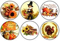 set of 6 Thanksgiving Pinback Buttons . NEW . as shown