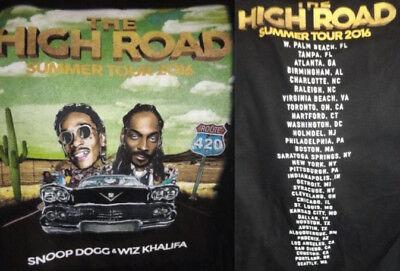 Snoop Dogg   Wiz Khalifa The High Road Summer Tour 2016 T Shirt New Sz Medium