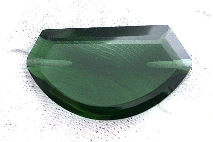 ONE 30x17 Side Drilled Fancy Half Oval Synthetic Green Emerald Color Gem Focal