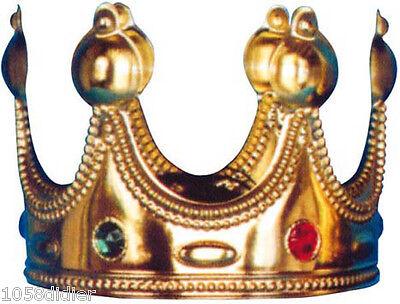Krone Königs Plastik Gold Kostüm Herren Frau mittelalterlich neu billig
