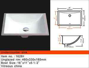 High end white porcelain square undermount sink from MoSER