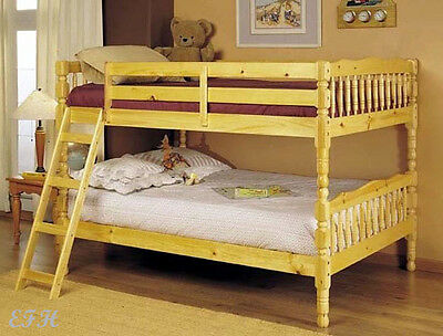 NEW ASHLYN COUNTRY SOLID PINE NATURAL FINISH WOOD FULL OVER FULL BUNK (Natural Wood Pine Bed)