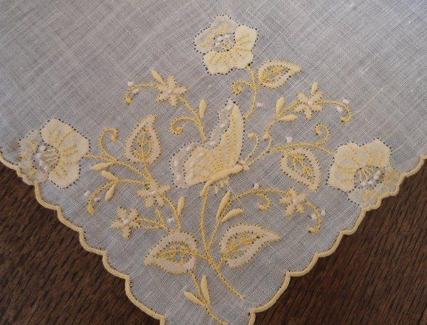 Vintage Madeira Hanky Yellow Embroidered Butterfly Applique Flowers
