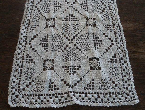 "True Vintage Ivory Crochet Lace Table Runner Handmade USA Cotton 41"""