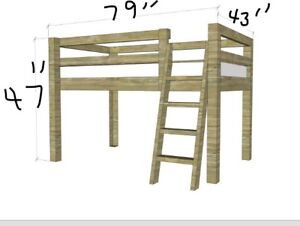 Loft bed with twin mattress