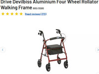 Aluminium Four Wheel Rollator Walking Frame