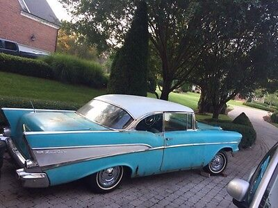 1957 Chevrolet Bel Air 150 210 Ivory Turquse Rare 1957 Chevy Bel Air 2 Door 283 V 8