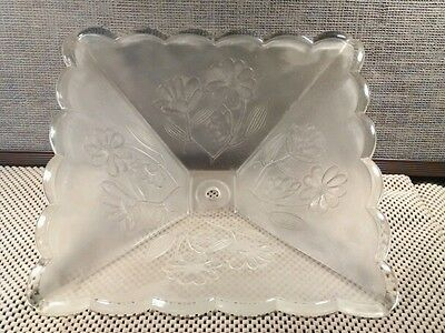 Vintage Clear Pressed Frosted Glass Ceiling Light Shade, Floral, Nice! 4 Pannel