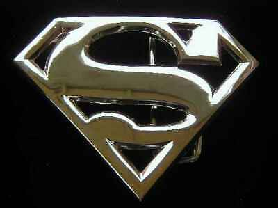 SUPERMAN CUT OUT SHIELD BELT BUCKLE CHROME FINISH LICENSED NEW!