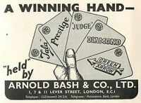 1953 Arnold Bash Winning Hand Lever Street London Ad -  - ebay.co.uk