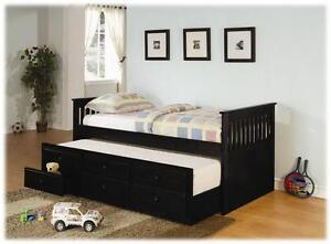 Black Captain/Daybed with Trundle Bed & Storage