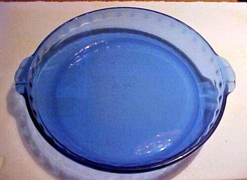 Vintage PYREX Cobalt Blue Glass Fluted Pie Pan #229 Crimped Deep Dish Plate
