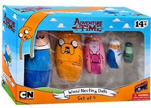 Adventure Time Set of 5 Wooden Nesting dolls, New