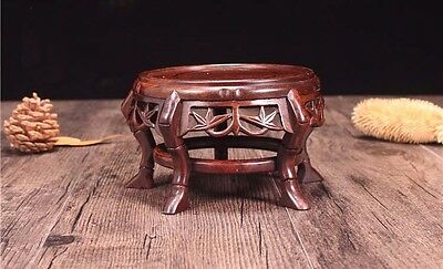- Wood Pedestal Round Carved Bamboo leaf base Display stand for vase stone A-01