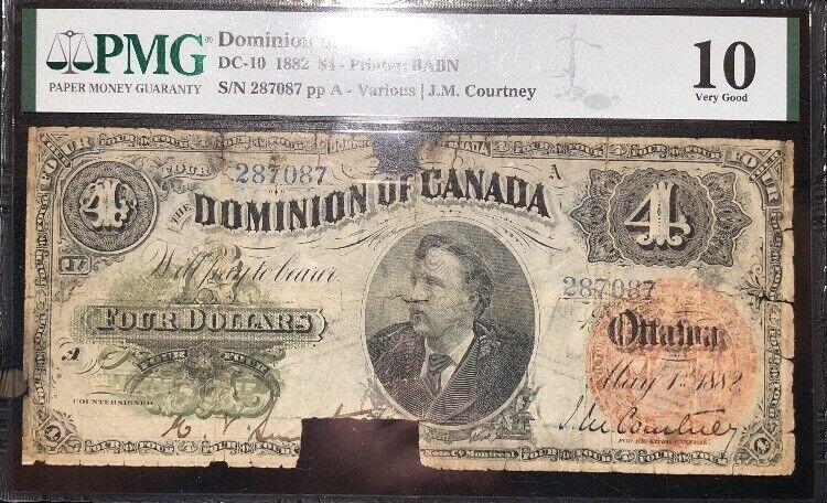 4 Dollars 1882 Canada VG10