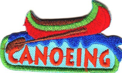 """CANOEING"" Iron On Patch Canoe Water Sport Rowing Scouts Girl Boy Cub"
