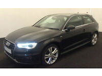 Black AUDI A3 SALOON 1.6 1.8 2.0 TDI Diesel SPORT S LINE FROM £51 PER WEEK!