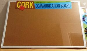 "NEW/SEALED - Premium 24"" x 36"" Cork Board Aluminum Frame w/ pins"