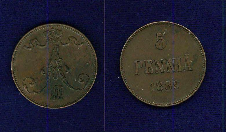 FINLAND (RUSSIA) ALEXANDER III  1889 5 PENNIA COIN XF+