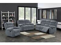 GRAYSON FABRIC RECLINER 3 2 & 1 SEATER SOFA |0 % FINANCE WEEKLY PAYMENT OPTION AVAILABLE