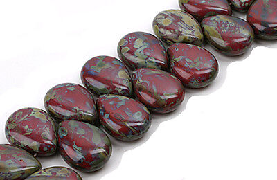 12 Exquisite Red Picasso Czech Glass Pear Drop Beads 16 MM Ruby Drop Beads