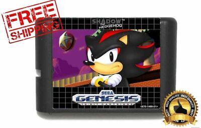 Shadow Sonic Hedgehog Sega Genesis Cart 16bit Sonic Hack Megadrive without box