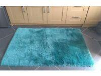 Teal/duck egg fluffy rug