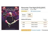 Dave Gilmour DVD. Remember the Night, Live at the Royal Albert Hall. New unopened duplicated gift.