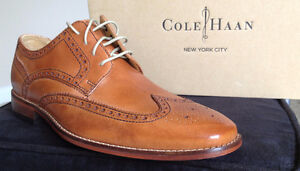 Cole Haan Colton Nike Air Sole Wingtip Brown Dress Shoes