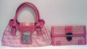 GUESS: Pink Mini Purse and Wallet