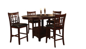 5 Piece Chocolate Counter-Height Dining Package - used